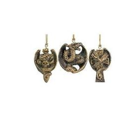 Gothic Holiday Dragon Ornament Collection: Set of Three
