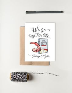 We Go Together Like Shrimp & Grits; Greeting Card for Husband; Greeting Card for Wife; Friendship card; Love Card; Southern Gift; Texture Design Co.