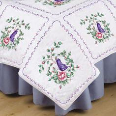 "Stamped White Quilt Blocks 18""X18"" 6/Pkg-Butterfly Heart at Joann.com"