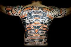 Mens Full Back Amazing Haida Tattoo