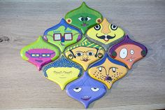 Set of coasters by Jain&Kriz. Hand painted on MDF by traditional papier mache artisans in Kashmir. Cool Coasters, Artisan, Faces, Hand Painted, Traditional, Pattern, Fun, Decor, Decoration