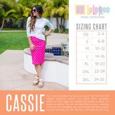 LuLaRoe Cassie Skirt Size Chart. Shop now: www.facebook.com/groups/LuLaRoeJenny/.