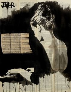Her Sonata - By Loui Jover. (Ink on vintage book pages adhered together to make one large sheet)
