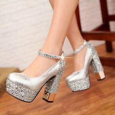 New womens heels wedding shoes casual rain stone block belt buckle Glitter shoes Platform High Heels, High Heel Pumps, Pump Shoes, Shoes Heels, Women's Pumps, Stiletto Heels, Gold Bridal Shoes, Bridal Wedding Shoes, Satin Shoes