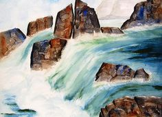 Waterfall I watercolor painting by Carlin Blahnik. Crisp, colorful water cascades over rocky terrain into clear pools. The wet rocks along the waterway glisten with colors of blue, rust and tans. Massive amounts of water froths as it tumbles over the falls. This waterfall has angular shapes that offer a feel of urgency, speed, fast falling water. The water is blue green. Distant lighter boulders are seen in the back ground along with lesser falls.  http://www.carlinart.com/