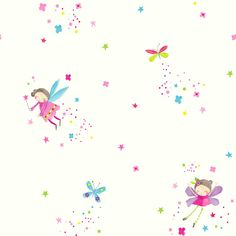 Imagine Fun Kids Colourful Pink Blue Fairy Girls Childrens Bedroom ~silver Glitter Fairies Wallpaper for Walls by Arthouse 667101: Extensive quality range of wallcoverings from affordable to top designer wallpapers available at Lancashire Wallpaper and Paint Co