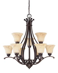 Nuvo Lighting 60/1403 Copper Espresso Nine Light Up Lighting Two Tier Chandelier from the Anastasia Collection - LightingDirect.com