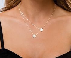 Small Circle Layered Necklace Double Initial Charm Two