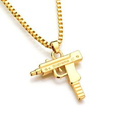 GWOOD Uzi Automatic Pendant Iced Out Silver Color With 36 Inch Franco Necklace