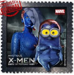X-Men: Days of Future Past ~ Mystique Minions Cartoon, Minions Images, Despicable Minions, Cute Minions, Minions Quotes, Minion Pictures, Minion Dress Up, X Men, Famous Superheroes