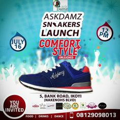 "You are invited to the Official launch of Our Askdamz Sneakers line.  This is Nigeria's first ""known"" branded sneakers line. Affordable luxury with premium comfort.  Our Launch/fair would be holding at -Venue: Nakenohs Boulevard (4 Bank road Ikoyi Lagos)  Date: 16th July 2017 -Time: 12pm  We would have many amazing vendors and sponsors at the launch ; @kiahkiadispatch @nakenohsblvd @veritascaterersltd @nellies.ng @maychills @twelve03meals @jamcoconutfoods@thehealthyteacompany @fhaborganics…"