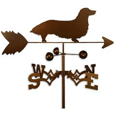 Show off your love of Dachshunds with this retro copper-colored weathervane. The hand-made weathervane lets you know the wind direction, giving you an idea of what weather to expect. Made of strong 14-gauge steel, it's sure to last a long time.