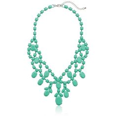 """Yellow Sprayed Stone Statement Necklace, 18"""" 
