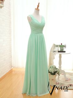 Description Mint Green Bridesmaid Dress Custom Made Size Color Elegant Formal V Neck Spaghetti Strap Zipper Up Back Long Chiffon Mint Green Prom