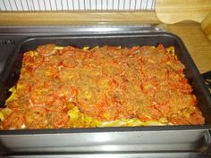Oven baked pasta with tomatoes and ham-prosciutto  www.easyitaliancuisine.com