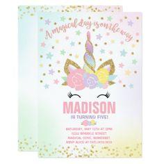 #Rainbow Unicorn Birthday Invitation Pink Gold - #birthdayinvitation #birthday #party #invitation #cool #invitations