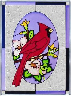 """Red CARDINAL Art Glass WINDOW 10 x 14 BIRD GARDEN Flower Suncatcher by eEarthExchange. $57.95. 1st PICTURE ONLY:  10.25"""" x 14"""" SUNCATCHER. eEarth Exchange carries MORE suncatchers in our store. **  ** SHIPS UPS - Order BY DECEMBER 13 for CHRISTMAS DELIVERY **  **. Proudly Made in the USA, ships via UPS Ground with insurance.. Comes with hooks and chain for immediate placement. Like no other product, art glass delivers high visual impact! The rich, vibrant look of stained glass ..."""
