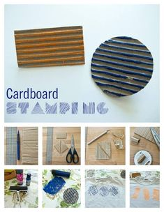 Textured Cardboard Stamps 30 Adorable And Unexpected DIY Stamp Projects Fun Crafts, Diy And Crafts, Arts And Crafts, Paper Crafts, Stamp Printing, Printing On Fabric, Homemade Stamps, Foam Stamps, Ideias Diy