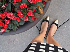 black and white check stretch sheath kate spade lorelei dress preppy office wear kate spade red orange crimson cashmere sweater with peter pan collar kate spade black suede gold toe tip shoes and gold heel j. crew gold cuff bracelet gold vintage earrings gorjana rings impatients flowers rooftop tribeca new york city view street skyline summer nyc