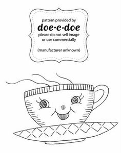 Tea themed embroidery patterns