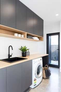 Laundry Room Organization Space Saving Ideas For Functional Small Laundry Room Design. Laundry Inspo - Hope Me. Home Design Ideas Modern Laundry Rooms, Laundry In Bathroom, Basement Laundry, Laundry Area, Laundry In Kitchen, Laundry Decor, Kitchen Grey, Laundry Tips, Kitchen Wood