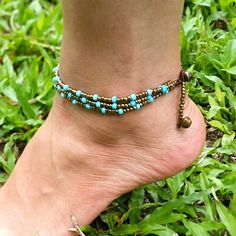 Hand Made Fair Trade Anklet Three Strand Brass Turquoise Adjustable 2 sizes Hand Made Anklets From Thailand