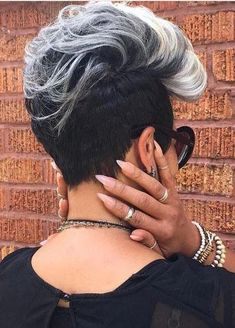 Short-Grey-Hair-Hairstyle New Best Short Haircuts for Black Women in 2019 Mohawk Hairstyles, My Hairstyle, Black Girls Hairstyles, Short Hairstyles For Women, Short Grey Hair, Short Hair Wigs, Long Hair, Curly Hair Styles, Natural Hair Styles