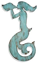 Cottage Home Furniture Antiqued Wood Mermaid Plaques $170