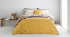 Prism Cotton Duvet Cover + 2 Pillowcases, Double, Mustard Grey UK - Bedding Sets & Linen - Bed & Bath | MADE.com