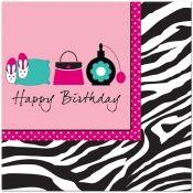 Pink Zebra Happy Birthday Lunch Napkins (16)