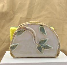 Napkin holder, ceramic napkin holder, pottery napkin holder, white glaze with…