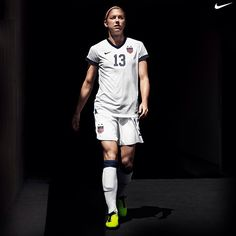 Alex Morgan in the new home kit from Nike, designed to recall the original uniform of the United States of America Foot Ball Association, formed in April 1913 -- 100 years ago.