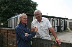 Jim Blackender with a neighbour, Excalibur Estate, 2009.