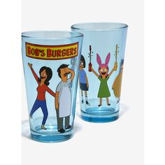 Bob's Burgers Pint Glass Set ($14) ❤ liked on Polyvore featuring home, kitchen & dining, drinkware, glass drinkware and pint glass set