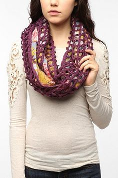 Pins and Needles Floral Crochet Eternity Scarf