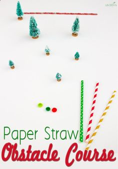 A few straws, pom poms and Christmas Village decorations are all you need to create a super fun paper straw obstacle course for your family! Winter Activities For Kids, Educational Activities For Kids, Christmas Activities For Kids, Hands On Activities, Toddler Activities, Toddler Games, Winter Games, Christmas Games, Play Based Learning