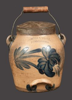 HARRISBURG, PA Stoneware Batter Pail with Tulip Decoration
