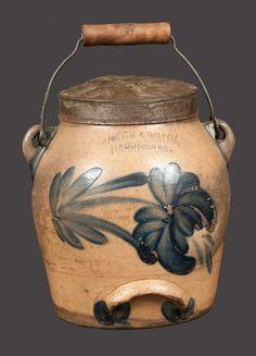 HARRISBURG, PA Stoneware Batter Pail with Tulip Decoration