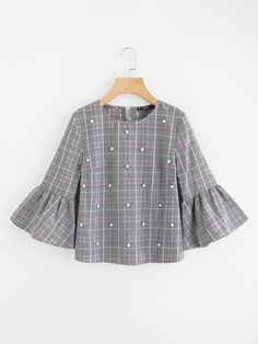 SheIn offers Pearl Beading Trumpet Sleeve Plaid Top & more to fit your fashionable needs. Girls Fashion Clothes, Teen Fashion Outfits, Modest Fashion, Girl Fashion, Fashion Dresses, Fashion Design, Blouse Styles, Blouse Designs, Pakistani Dress Design