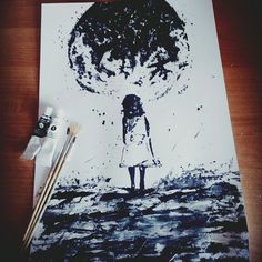 Painting#moonandagirl#niceday#loveart❤🎨