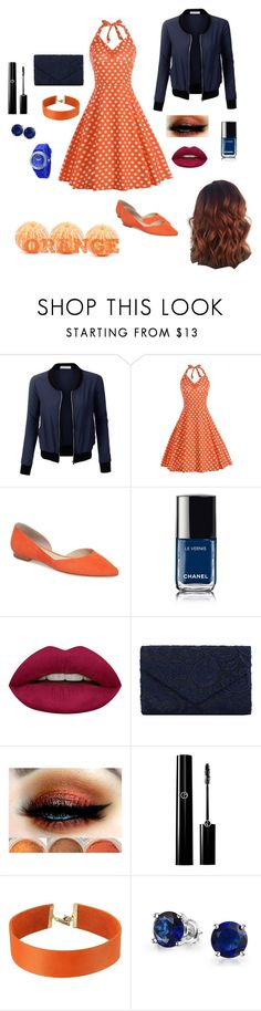 """""""Orange & Blue"""" by clarissa-684 ❤ liked on Polyvore featuring LE3NO, Marc Fisher LTD, Chanel, Huda Beauty, Vanessa Mooney and Bling Jewelry"""