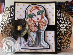 "Lesley McCloskey. Scruffy Little Cat stamp ""Chanel"". Spectrum Aquas - hair - terracotta and chestnut, skin - peach, lips - crimson, eyes - teal and black, dress - black,  perfume bottle - black, slate, gold, purple, boulder and charcoal, necklace - jasmine, ground - slate and sky - aquamarine. Sheena Perfect Partners Victorian Floral Poppy die, Die'sire Edge'ables  Renaissance, Matt Black card, Scruffy Little Cat embossing folder. #crafterscompanion #spectrumaqua @ScruffyLilCat"