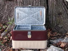 Rare Find ~ 1950's Little Brown Chest ~ Galvanized Aluminum Ice Chest ~ Retro Beer Cooler ~ Vintage Picnic ~ Complete with All Accessories by MarthasVintageBazaar on Etsy