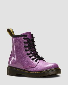 Martens 1460 Glitter Boot Youth - Dark Pink Coated Glitter Back to School Doc Martens Outfit, Doc Martens Rose, White Doc Martens, Doc Martens Style, Dr Martens 1460, Botas Doc Martens, Dress With Boots, Lace Up Boots, Leather Boots