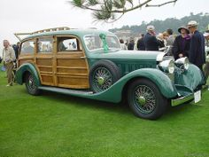 "oldschooliscool:"" 1937 Hispano-Suiza Shooting Brake with custom coachwork by Franay. Love the paint color—it goes fantastically with the wood panels. Vintage Cars, Antique Cars, Aston Martin Virage, Green Motorcycle, Automobile, Hispano Suiza, Shooting Brake, Futuristic Cars, Jaguar E Type"