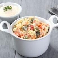 Russian Salad Recipe - A popular Russian entree made with diced vegetables and mayonnaise dressing. It is also known as the Olivier salad as the original version was invented by Lucien Olivier.