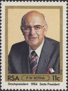 Stamp: President Botha (South Africa) (Election) Mi:ZA 659,Yt:ZA 573 Union Of South Africa, Coca Cola Poster, South African Air Force, Rare Stamps, Beaches In The World, African History, Stamp Collecting, Vintage Signs, Postage Stamps