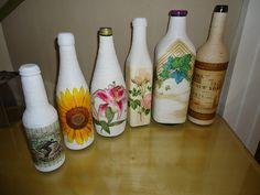 garrafas de vidro decoradas passo a passo - Pesquisa Google