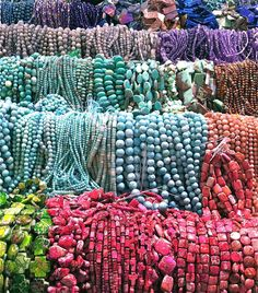 Look at all the colorful beads on display at the 2014 Tucson Gem and Mineral Show