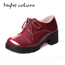 Woman Designer Brogue Vintage Shoes Round Toe Black and Beige Creepers  Oxford Leather Ankle Spring Shoes 2a31f763ec8c